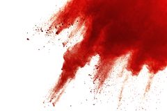 Red powder explosion on white background. Paint Holi royalty free stock photography