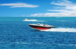 Red power boat royalty free stock images