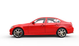 Red Power Car - Side View Royalty Free Stock Photos