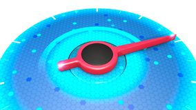 Red power indicator on blue pressure gauge, speed performance from minimum to maximum. Temperature, pressure, force, 3d rendering royalty free illustration