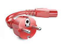 Red power plug and electric cable Stock Photography
