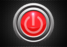 Red power start button on metal gray circle mesh pattern design technology vector. stock illustration
