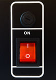 Red power switch. In on position royalty free stock images