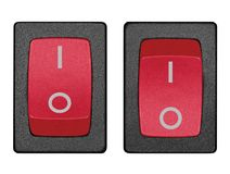 Red power switch on off position, isolated macro. Red power switch in on off position, isolated macro closeup royalty free stock photography
