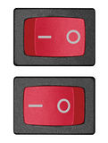 Red power switch in on off position, large detailed isolated macro closeup Stock Photo