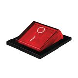 Red power switch on position, isolated macro. Red power switch at on position, macro closeup isolated royalty free stock photos