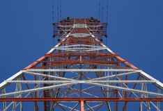 Red power tower. Red and white power tower, view from below stock images