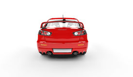 Red Powerful Car - Rear View Stock Image