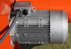 Red powerful electric motors for modern industrial Royalty Free Stock Photography