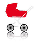 Red pram. On a white background Stock Photography