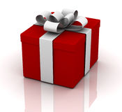 Red present. A red present with a silver bow Stock Images