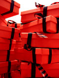 Red Gift Boxes with Black Bows. Many red gift boxes with black bows stock photography