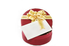 Red present box. With gold ribbon on white background Royalty Free Stock Photo