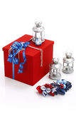 Red present box with blue ribbo Royalty Free Stock Images