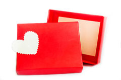 Red present box with heart Stock Photos