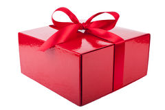 Red present box isolated Stock Photos