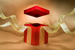 Red Present Box with open cover royalty free stock photography