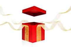 Red Present Box with open cover Royalty Free Stock Photo