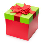 Red present gift box isolated on the white background Royalty Free Stock Image