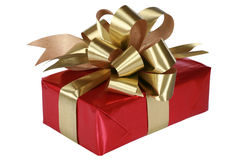 Red present with gold bow Stock Images