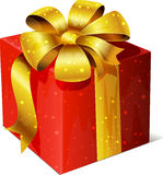 Red present with gold bow Royalty Free Stock Photography
