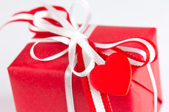 Red present heart isolated white Royalty Free Stock Image