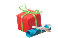 Red present with note Royalty Free Stock Images