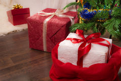 Red present under christmas tree Royalty Free Stock Photos