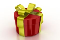 Red Present With Golden Ribbon Royalty Free Stock Photo