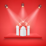 Red Presentation platform and gift box Royalty Free Stock Image
