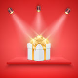 Red Presentation platform and gift box Stock Images