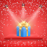 Red Presentation platform and gift box Royalty Free Stock Images
