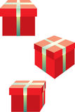 Red presents. Vector illustration of three isolated box presents Stock Photos