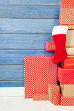 Red presents for Christmas stock images