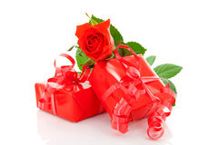 Red presents and rose Stock Photography