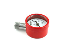 Red pressure checking gauge Royalty Free Stock Photos