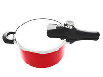Red pressure cooker Stock Photo