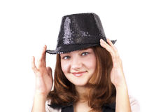Red pretty woman in black cap Royalty Free Stock Photo