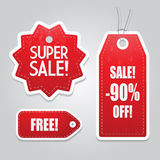 Red price sale tags stickers set Royalty Free Stock Photo