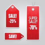 Red price sale tags stickers set Stock Photography