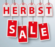 Red Price Stickers Herbst Sale Stock Images
