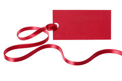 Red price tag or label with ribbon isolated on white background Stock Image
