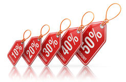 Red price tag labels with percent sale off - 3D illustration Royalty Free Stock Photography