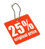 Red price tag on white Stock Photography