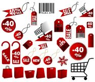 Red price tags. Very big Set of red price tags in vector design Royalty Free Stock Image