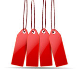 Red price tags on white. Background Royalty Free Stock Images