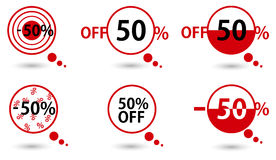 Red price vector bookmarks 50 percent sale off. Royalty Free Stock Photography