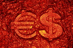 Red printing background with Euro and Dollar signs Royalty Free Stock Photo