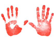 Red prints of the hands Stock Image