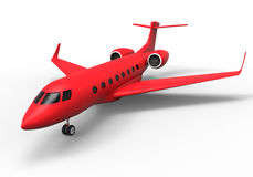 Red private jet. 3D render illustration of a red private jet. The plane is isolated on a white background with shadows Royalty Free Stock Photo